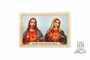 Santinho com oração Sagrado Coração de Jesus e Maria - Pacote c/100