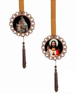 Escapulário de Porta Sagrado Coração de Jesus e Nossa Senhora do Carmo