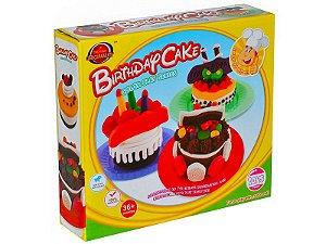 Massa de Modelar Bolo de aniversario Brinquedo criativo 9 pçs