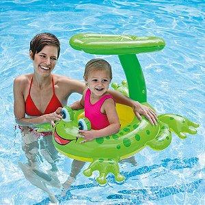 Boia Inflavel Infantil Bebe com Cobertura Bote Sapinho 56584 Intex