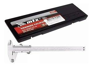 Mtx Paquimetro Universal Metalico 150 mm , Passo 0.02 mm - Com Medidor de Profundidade