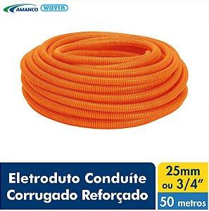 Amanco Eletrica Eletroduto Corrugado Laranja Conduite Reforçado Dn 25X50M