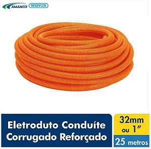 Amanco Eletrica Eletroduto Corrugado Laranja Conduite Reforçado Dn 32X25M