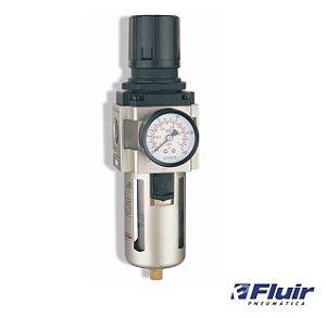 """Fluir Filtro Regulador De Ar Com Copo e Manometro 3/4"""""""