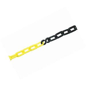 Corrente Zebrada de Plástico Preto e Amarelo elo Pequeno  Plastcor