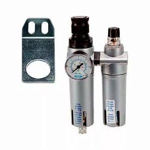 Filtro FRL 1200 Regulável Com Manômetro 1-4 BSP Steula
