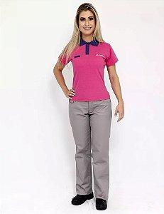 Camisa Uniforme Farda Promotora Brmania Manga Curta Feminina
