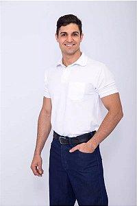Farda Uniforme Profissional Camisa Polo Branca Masculino