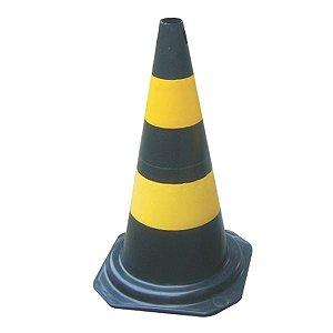 Cone Sinalizador 75 Centímetros Preto e Amarelo Plastcor