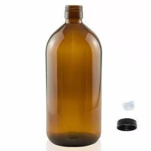 Frasco de vidro 1 litro sem tampa Ambar