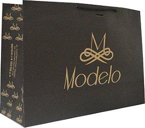 Sacola Personalizada - Papel Kraft 170 grs - 1x0 cor - alça cordão nylon preto - ilhós preto