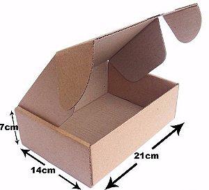 200 Caixas Correios para E-Commerce - Papelão Pardo - 21x14x7 cm - 2mm - Capa Simples