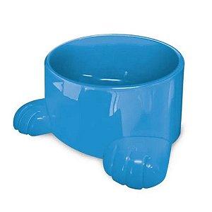 Comedouro e bebedouro com duas patas azul