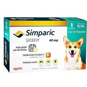 Antipulgas Zoetis Simparic 40 mg para Cães 10,1 a 20 Kg