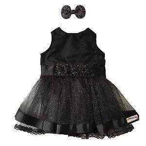 Vestido de festa flores negras