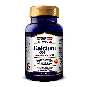 Calcio 600 mg com Vitamina D3 Vitgold 100 Cápsulas