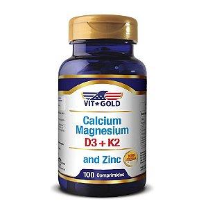 Cálcio Magnésio Zinc + Vitamina D3 e K2 Vitgold 100 comprimidos