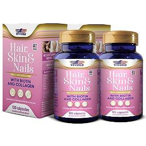 Hair Skin & Nails (Cabelo pele unhas) Vitgold Kit 2x 120 cap