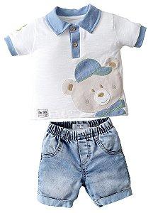 Conjunto Camisa Polo com Bermuda Jeans Ursão - Upi Uli