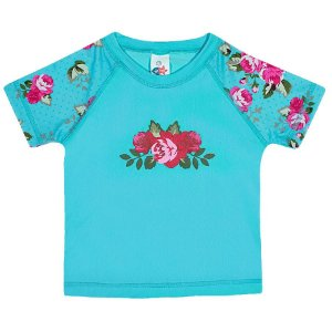 Camiseta Praia Manga Curta Turquesa Claro - Tip Top