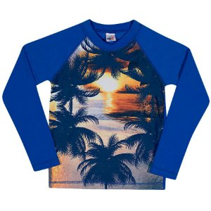 Camiseta Praia Manga Longa Azul Royal - Tip Top