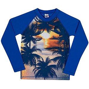 Camiseta Praia Manga Longa Azul Royal - Tip Top