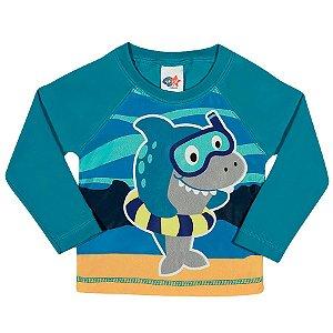 5f84293550 Camiseta Praia Manga Longa Turquesa - Tip Top