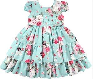 Vestido Floral com Strass - Plinc Ploc