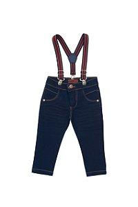 Calça Jeans com Suspensório - Jeito de Criança