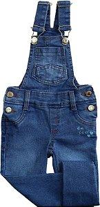 Jardineira Jeans com Bordado - Jeito de Criança