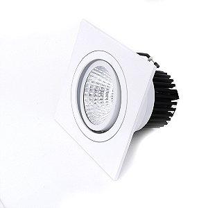 Spot LED 7W Quadrado de Embutir Direcionável Branco Frio