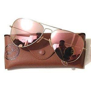 Óculos Ray ban Aviador Rosa Espelhado Promoção