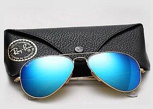 Óculos Ray ban Aviador Azul Espelhado Promoção
