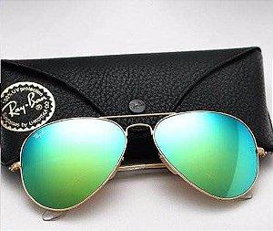 Óculos Ray ban Aviador Verde Espelhado Promoção