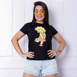 T-SHIRTS FEMININA ALGODÃO PRETO LISA SIMPSONS
