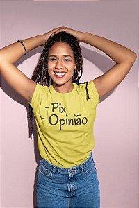 T-SHIRTS FEMININA ALGODÃO AMARELO + PIX