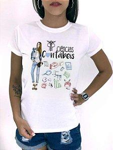 T-SHIRTS FEMININA POLIÉSTER CIÊNCIAS CONTABEIS DESENHO CALÇA AZUL