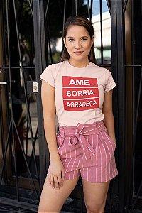 T-SHIRTS ALGODÃO FEMININA PÊSSEGO AME SORRIA AGRADEÇA