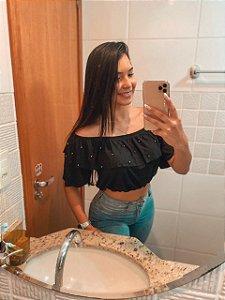 T-SHIRTS CROPPED CIGANINHA COM PÉROLAS PRETO TAMANHO ÚNICO