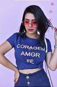 T-SHIRTS ALGODÃO FEMININA MARINHO CORAGEM AMOR FÉ