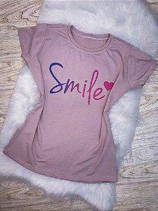 T-SHIRTS FEMININA VISCOLYCRA ROSA AREIA SMILE
