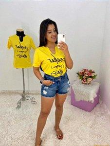 T-SHIRTS FEMININA ALGODÃO GOLA AMARELO SONHAR MAIS