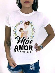 T-SHIRTS FEMININA POLIÉSTER OFF MÃE AMOR INCONDICIONAL FILHO