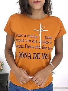 T-SHIRTS FEMININA ALGODÃO FERRUGEM DONA DE MIM