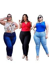 Kit com 3 Calças Jeans Feminina Plusize