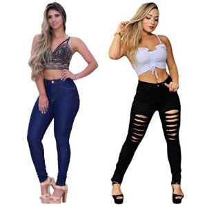 Combo -  Calças Jeans Femininas Cintura Alta Com Lycra