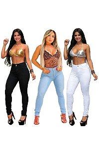 Combo 3 Calças Jeans Feminina Com lycra Cintura Alta
