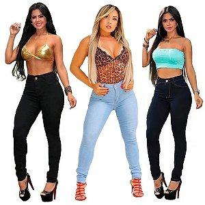 Kit 3 Calças Jeans Femininas Skinny Com Lycra Cintura Alta