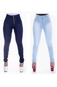 Kit 2 Calças Jeans Feminina Cintura Alta Com Lycra