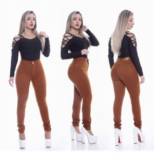 Calça Jeans Feminina Caramelo com Lycra